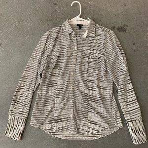 Ann Taylor Black and White Patterned Blouse